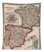 1800s France, Spain And Portugal County Map Color Tapestry