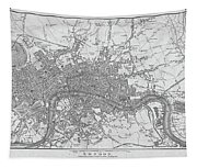 1800s London Map Black And White London England Tapestry