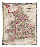 1800s Wales County Map Wales England Color Tapestry