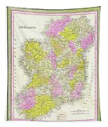 1850 Vintage Map Of Ireland Tapestry