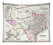 1855 Texas Map Tapestry