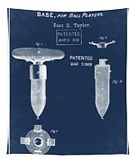 1868 Base For Baseball Players Patent In Blue Tapestry