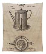 1889 Coffee Pot Patent Illustration Tapestry