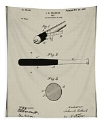 1902 Baseball Bat Patent In Aged Gray Tapestry