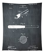 1902 Baseball Bat Patent In Chalk Tapestry