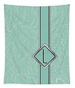 1920s Blue Deco Jazz Swing Monogram ...letter L Tapestry