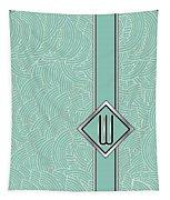 1920s Blue Deco Jazz Swing Monogram ...letter W Tapestry
