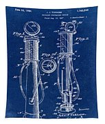 1930 Gas Pump Patent In Blue Tapestry