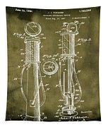 1930 Gas Pump Patent In Grunge Tapestry