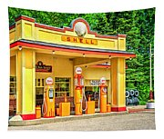 1930s Shell Gas Station Tapestry