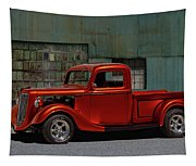 1935 Ford Pickup Parked At Garage Tapestry