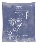 1936 Toilet Bowl Patent Blue Grunge Tapestry