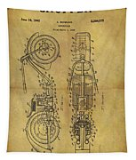 1942 Chopper Motorcycle Patent Tapestry