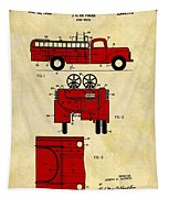 1950 Red Firetruck Patent Tapestry