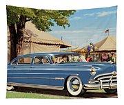 1951 Hudson Hornet Fair Americana Antique Car Auto Nostalgic Rural Country Scene Landscape Painting Tapestry