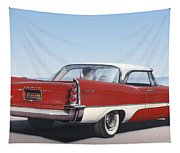 1957 De Soto Car Nostalgic Rustic Americana Antique Car Painting Red  Tapestry