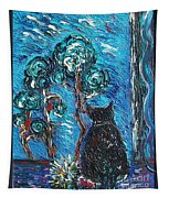 A Black Cat Tapestry