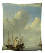 A Dutch Ship Coming To Anchor Tapestry