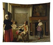 A Woman Drinking With Two Men Tapestry