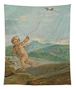Angel Flying A Kite Tapestry