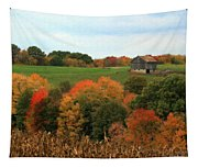 Barn On Autumn Hillside  A Seasonal Perspective Of A Quiet Farm Scene Tapestry