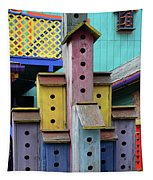 Birdhouses For Colorful Birds 3 Tapestry