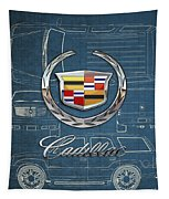 Cadillac 3 D Badge Over Cadillac Escalade Blueprint  Tapestry