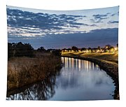 Dawn Over The Town River Tapestry
