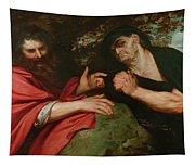 Democritus And Heraclitus Tapestry