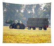 Hauling Hay At Dusk Tapestry