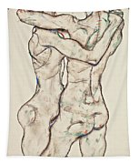 Naked Girls Embracing Tapestry