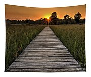 Prairie Boardwalk Sunset Tapestry