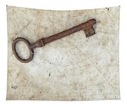 Rusty Key On Old Parchment Tapestry