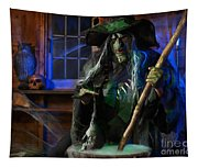 Scary Old Witch With A Cauldron Tapestry