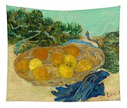 Still Life Of Oranges And Lemons With Blue Gloves Tapestry