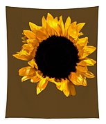 Sunflower Stretching On Brown Tapestry