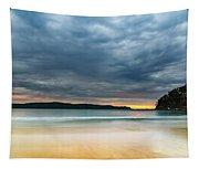 Vibrant Cloudy Sunrise Seascape Tapestry