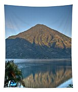 Volcano And Reflection Lake Atitlan Guatemala Tapestry