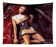 Young Woman In A Crashed Car Tapestry