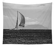 2017 Heineken Regatta Sailing Past Saba Saint Martin Sint Maarten Red Sail Black And White Tapestry