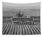 A Farmer Driving A Tractor Tapestry