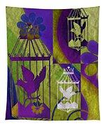 3 Caged Birds Tapestry