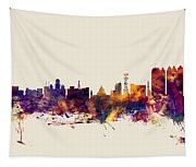 Calcutta Kolkata India Skyline Tapestry