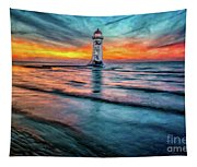 Light House Sunset Tapestry