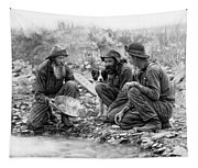 3 Men And A Dog Panning For Gold C. 1889 Tapestry