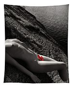Nude Woman Lying On Rocks By The Water Tapestry