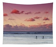 Paddlers At Sunset Tapestry