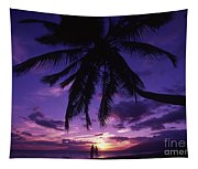 Palm Over The Beach Tapestry