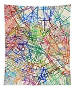 Paris France Street Map Tapestry by Michael Tompsett