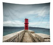 Red Lighthouse Of Cres On A Cloudy Day In Spring Tapestry